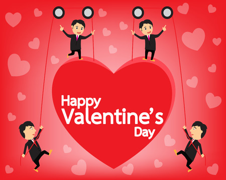 pulling rope: happy valentines day cards, valentine concept background, vector illustration.
