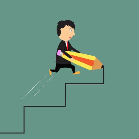 opportunity: Way to success concept, Business of opportunity, businessman drawing career ladder with pencil, cartoon vector illustration