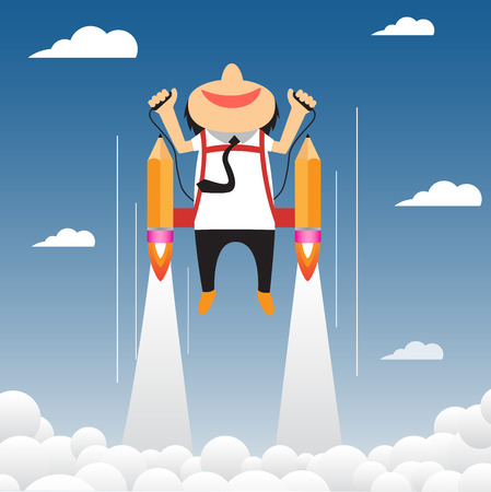 Cartoon businessman flying on the rocket to success. vector infographic illustration Ilustração