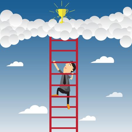 Cartoon businessman climbing upward on the stair of cloud to get success, vector illustration. Vector