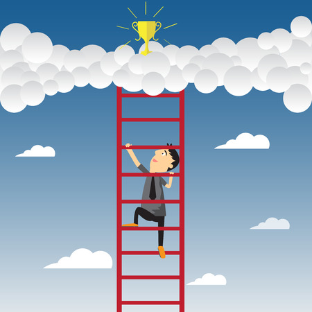 Cartoon businessman climbing upward on the stair of cloud to get success, vector illustration. Vector