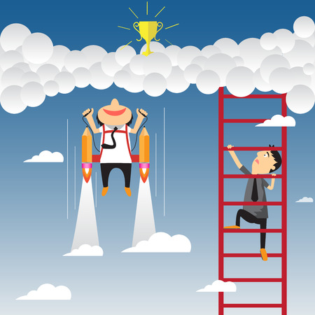 competition in business concept. Cartoon businessman flying with rocket and climbs on the stair of cloud to get success, vector illustration. Vector