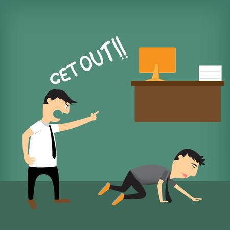 boss: Boss shouting at employee, vector illustration.