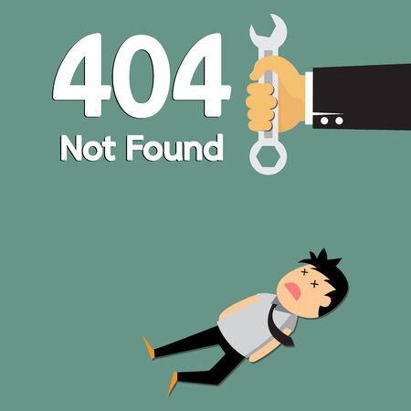 not found: P�gina no encontrada Error 404, hombre de negocios fracasan dibujos animados vector de concepto.