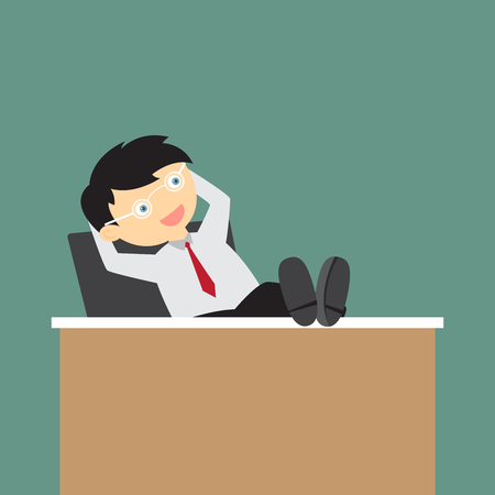Cartoon business man sitting relaxed with his feet on the desk and hands behind the head, vector illustration.