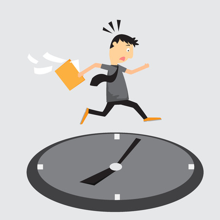 out of business: Cartoon businessman running on clock, Jumps over time, Rush hour, vector illustration. Illustration