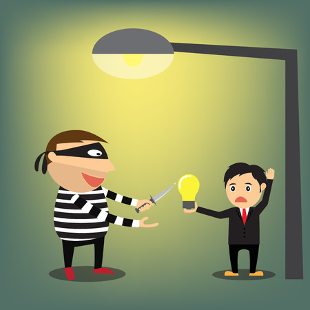 stealing: Idea Stealing. Thieves robbed idea from businessman, vector illustration. Illustration
