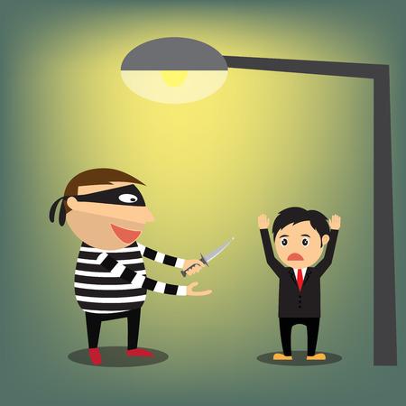 beroofd: Dieven beroofden zakenman, vector illustratie.