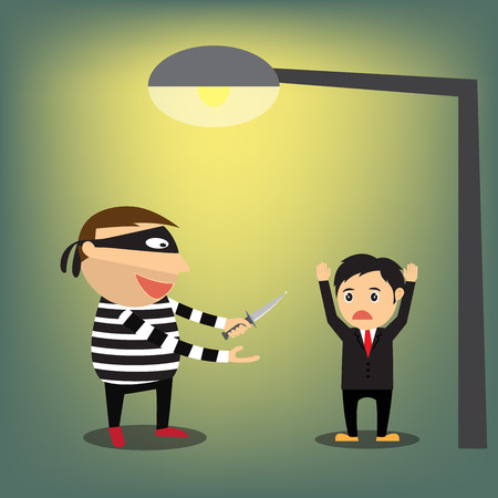 steal brain: Thieves robbed businessman, vector illustration. Illustration