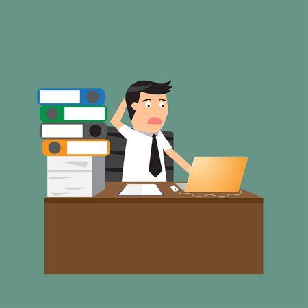 businessman hard working at his desk. vector illustration. illustration