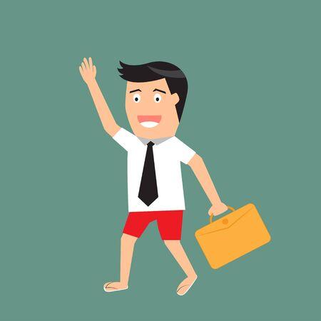 shorts: Businessman in shirt and shorts. vector illustration.