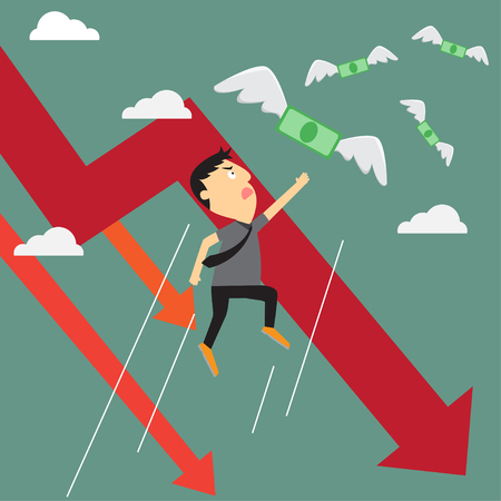 waste money: Crisis graph with money flying away from businessman, business crisis graph downtrend. vector illustration.