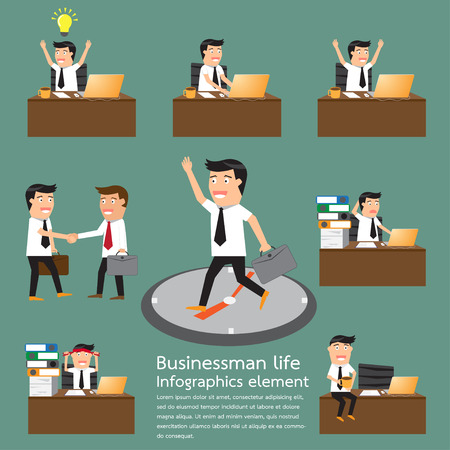Businessman life and show daily happening infographics. daily routine. businessman at work. activity workday. business partner and connection. vector illustration. Çizim