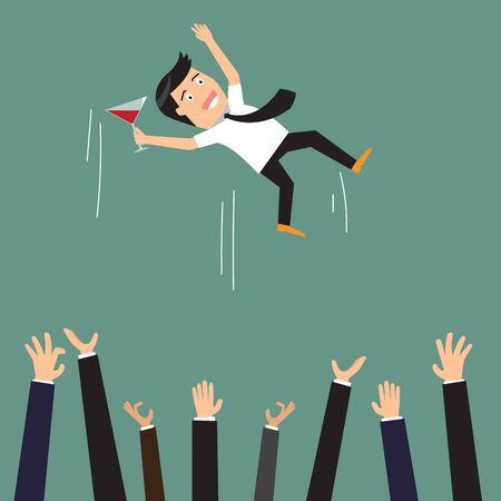 raise the thumb: Successful businessman being thrown in the air by his colleagues at a celebratory party, cartoon vector illustration