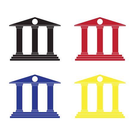 roman column: bank building vector icons. Illustration