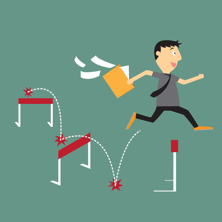 Businessman run with jumping over hurdle, business competition concept vector Vector