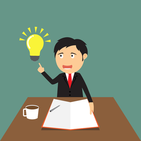 great coffee: Cartoon business man having a great idea while reading an interesting book, business idea concept vector illustration. Illustration