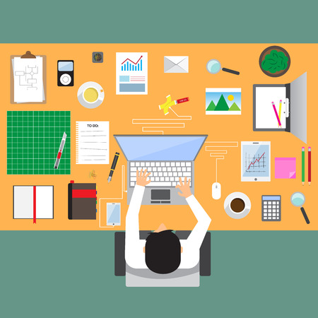 businessman in workplace with office table top view, cup of coffee, digital tablet, smartphone, usb hub, papers and various office objects on table. flat design vector illustration. Vector