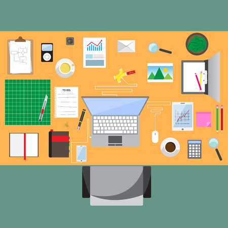 Business workplace with office table top view, cup of coffee, digital tablet, smartphone, usb hub, papers and various office objects on table. flat design vector illustration.