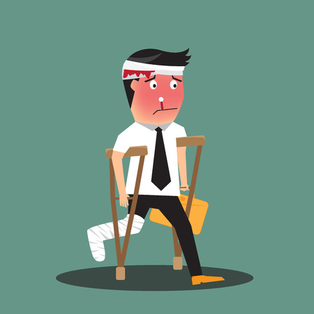 pain: illustration of a badly injured businessman walking on crutches carrying a briefcase, vector illustration. Illustration