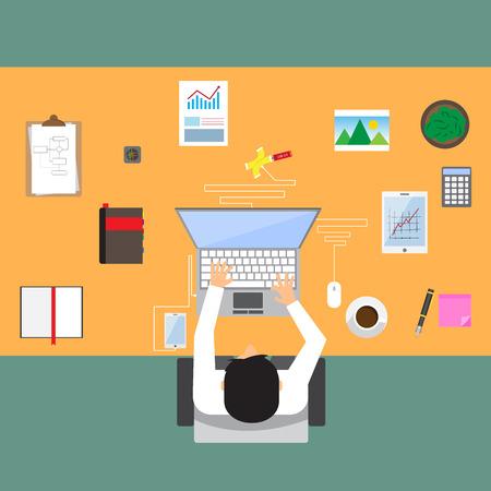 hub: homme d'affaires dans le lieu de travail avec table de bureau en vue de dessus, tasse de caf�, tablette num�rique, smartphone, hub USB, documents et divers objets de bureau sur la table. design plat illustration vectorielle.