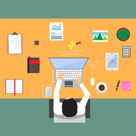 businessman in workplace with office table top view, cup of coffee, digital tablet, smartphone, usb hub, papers and various office objects on table. flat design vector illustration. Illustration