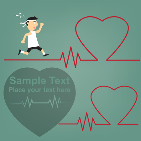 schematic illustration of the relation between sport and health of the heart, running medical man with ECG heartbeat. Vector