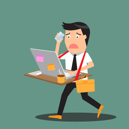 people laptop: Abstract businessman bearing his desk with working all time, vector illustration.