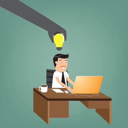 office theft: abstract of another hand is stealing idea from businessman at his desk. vector illustration. Illustration