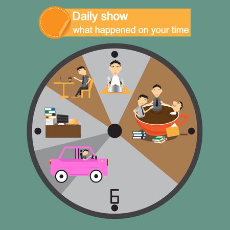 daily routine: Empresario personaje de dibujos animados durante todo el d�a todos los d�as composici�n pictogramas c�rculo de rutina. utilizar el paso del tiempo en receso. ilustraci�n vectorial abstracto. Vectores