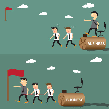 different strategy: difference between boss and leader, leadership business concept, vector illustration.