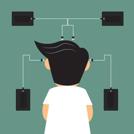 harddisk: business man with external harddisk doing connect and loading data for backup, remember concept vector illustration. Illustration