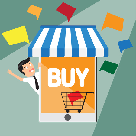 flat design internet shopping concept. E-commerce. Online store. Web money and payments. Pay per click. vector illustration. illustration