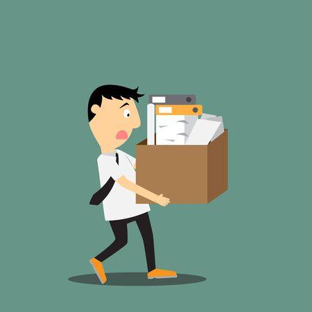 sad businessman: vector illustration of sad businessman leaving work