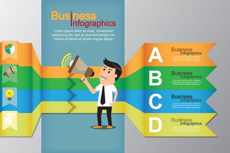 promote: Minimal infographics with businessman promote his business, market icons. vector illustration. Stock Photo