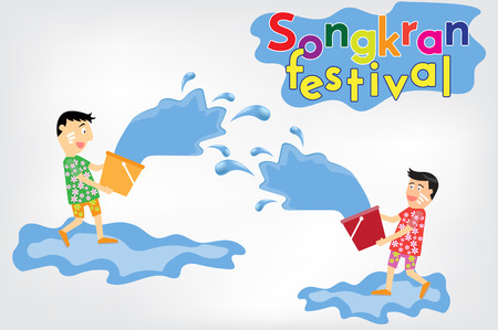 cartoon vector enjoy water in songkran festival Thailand. vector illustration.