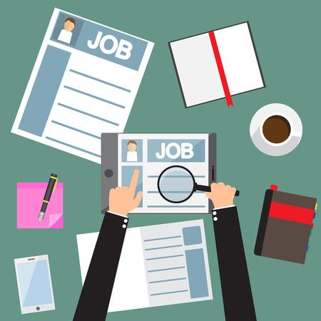 la mano que usa la tableta encontrar nuevo empleo, solicitud de empleo, plano de diseño ilustración vectorial.