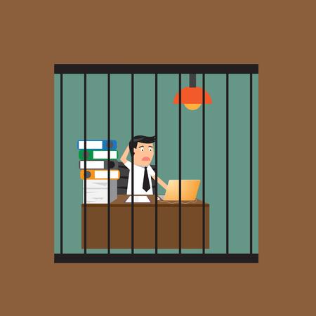 awkward: Hombre de negocios aburrido que trabaja en la jaula, ilustraci�n vectorial.