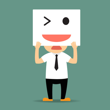 upset man: sad businessman hide his tired and bored face by white card smiley to express himself to be happiness. vector illustration.