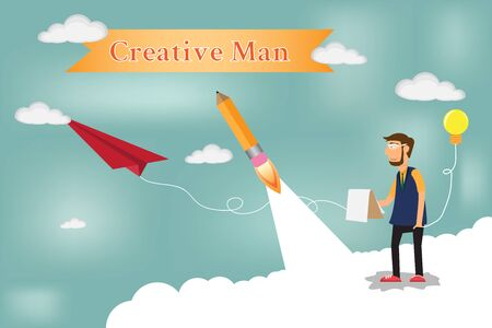 Concept of creative business with businessman working. vector illustration. Vector
