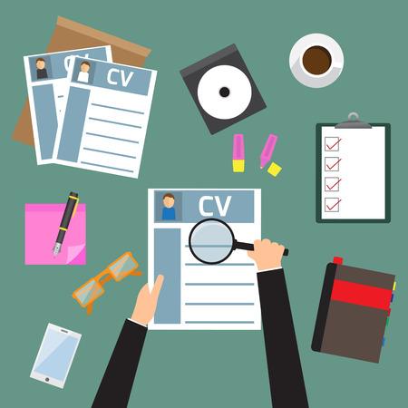 Ilustración del concepto de la entrevista de trabajo con el curriculum vitae cv negocio. vector. Vectores