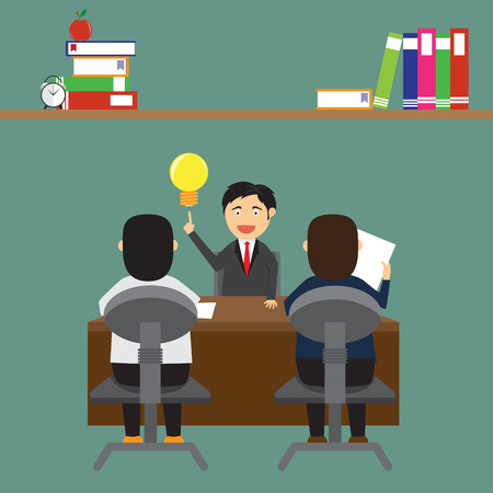 interviewer: job interview. vector illustration in a flat style. Illustration