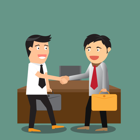 promising: vector illustration of the concept of successful partnership agreement business people cooperation.
