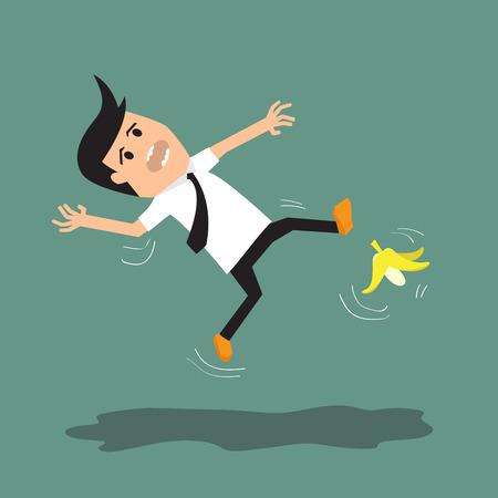Empresario resbalar en una cáscara de plátano. ilustración vectorial. Vectores
