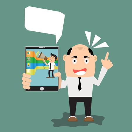 smart phone: Business man show smart phone