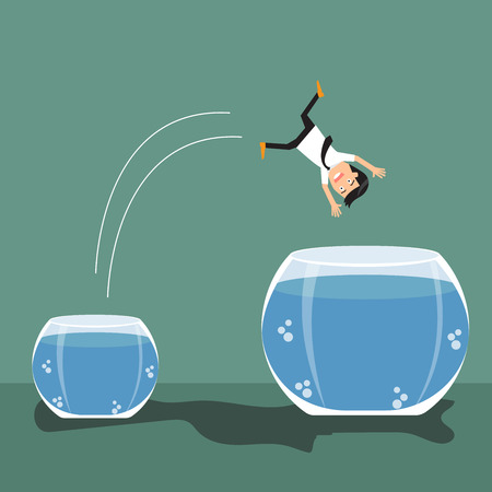 bigger: Cartoon businessman jumping out from small to a bigger fish bowl. vector illustration.