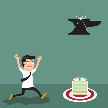 Finance risk concept. businessman look at money that have a trap. vector illustration. Vector