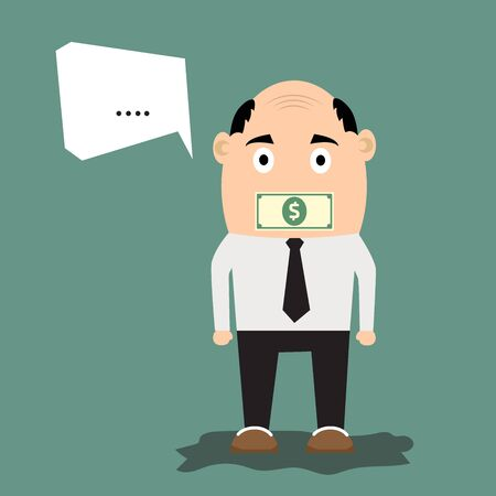 Cartoon businessman with money on his mouth as concept of business secret. vector illustration. Vector