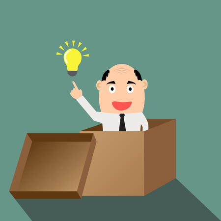 Businessman think outside the box with idea. flat design vector illustration. Vector