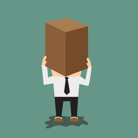 Man with cardboard box on his head. flat design vector illustration.